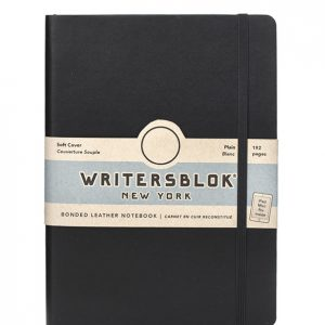 BFADKI004030 Writersblok NY Large Plain Leather Soft Cover Notebook WWW.BOOKISHFREAKS.COM - Kikkerland
