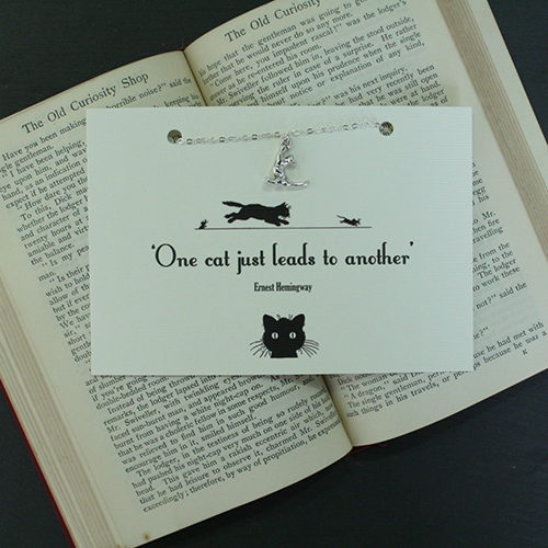 16 Book Lovers and Readers Gifts Under £20 - Ernest Hemmingway Cat Necklace