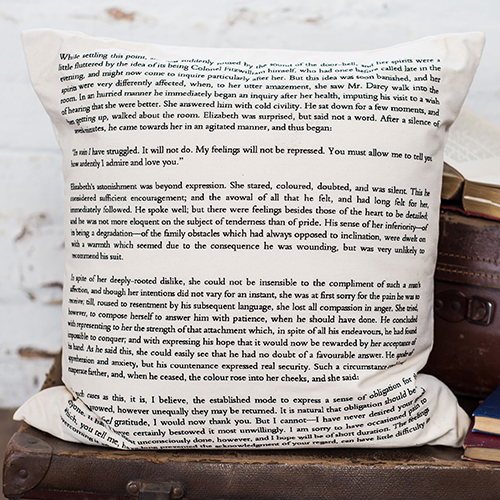 16 Book Lovers and Readers Gifts Under £20 - Pride And Prejudice Cushion Cover Book Page Print